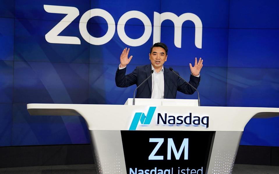 Eric Yuan, CEO of Zoom Video Communications takes part in a bell ringing ceremony at the NASDAQ MarketSite in New York - Carlo Allegri/Reuters