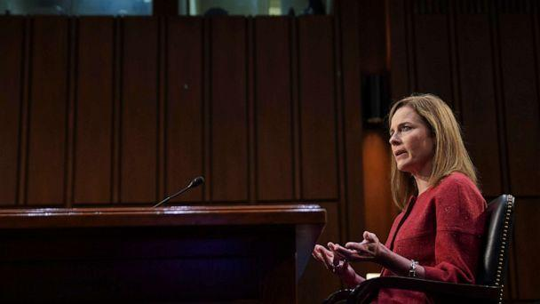 PHOTO: Supreme Court nominee Judge Amy Coney Barrett speaks during the second day of her confirmation hearing before the Senate Judiciary Committee on Capitol Hill in Washington, D.C., Oct. 13, 2020. (Stefani Reynolds/Reuters)