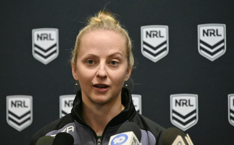 """Rugby League referee Belinda Sharpe speaks to the media in Sydney on July 16, 2019, after being named as the first female referee for a National Rugby League (NRL) game between the Brisbane Broncos and Canterbury Bulldogs. Australia's NRL will make history with Sharpe as its first female referee on July 18, as it struggles to leave behind its """"blokey"""" culture"""