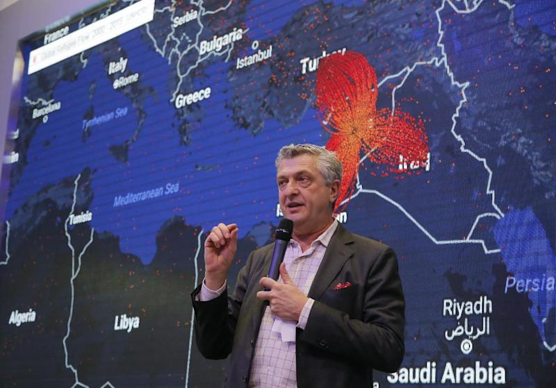 Filippo Grandi, United Nations High Commissioner for Refugees, speaks about the flow of refugees which is marked red on the screen behind him on the fourth day of the annual meeting of the World Economic Forum in Davos, Switzerland, Friday, Jan. 20, 2017. (AP Photo/Michel Euler)