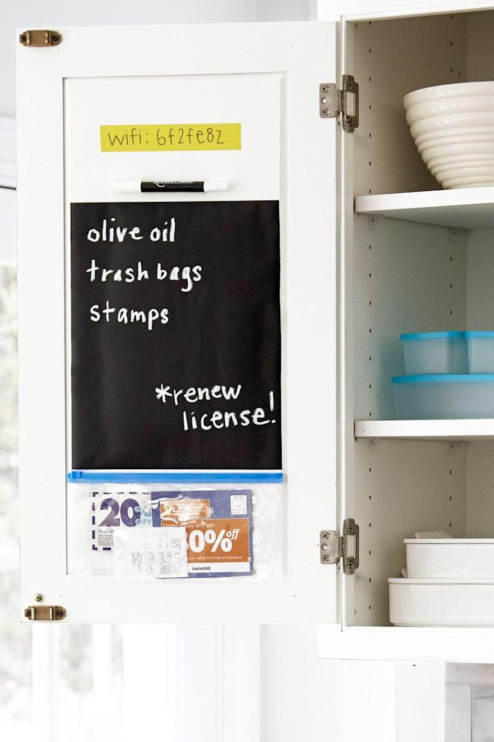 """<p>Turn the back of a cabinet into a makeshift shopping station with an adhesive pocket for coupons and chalkboard decal for shopping lists. And hey, you can even include your home's wifi password in case for the next time the kids' friends come over.</p><p><a class=""""link rapid-noclick-resp"""" href=""""https://www.amazon.com/Smead-Self-Adhesive-Pockets-Different-68167/dp/B0186KGEZK/?tag=syn-yahoo-20&ascsubtag=%5Bartid%7C10060.g.36311015%5Bsrc%7Cyahoo-us"""" rel=""""nofollow noopener"""" target=""""_blank"""" data-ylk=""""slk:SHOP SELF-ADHESIVE POCKET ORGANIZERS"""">SHOP SELF-ADHESIVE POCKET ORGANIZERS</a> </p>"""