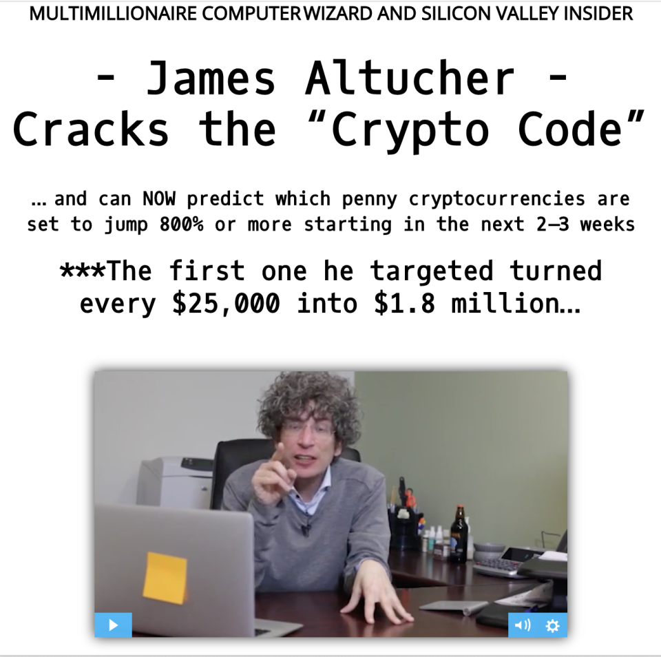 A screengrab of one of his newsletters landing pages. Users are unable to fast-forward the videos. (Yahoo Finance)