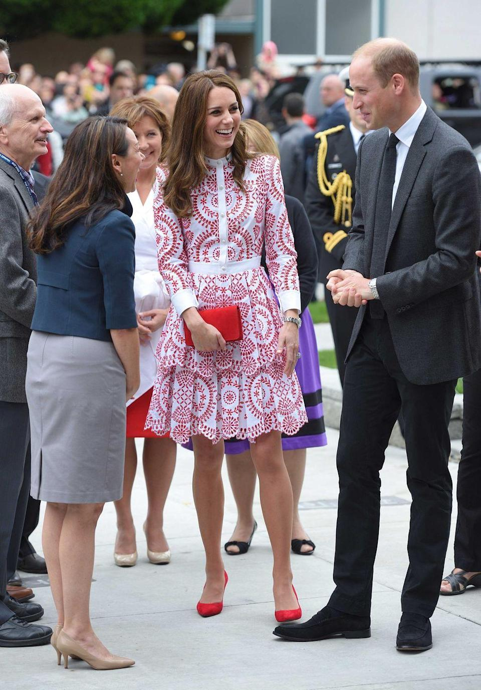 <p>The Duke and Duchess arrived in Vancouver, British Columbia by seaplane and greeted the crowd. Duchess Kate wore an Alexander McQueen dress with matching red pumps and a clutch.</p>