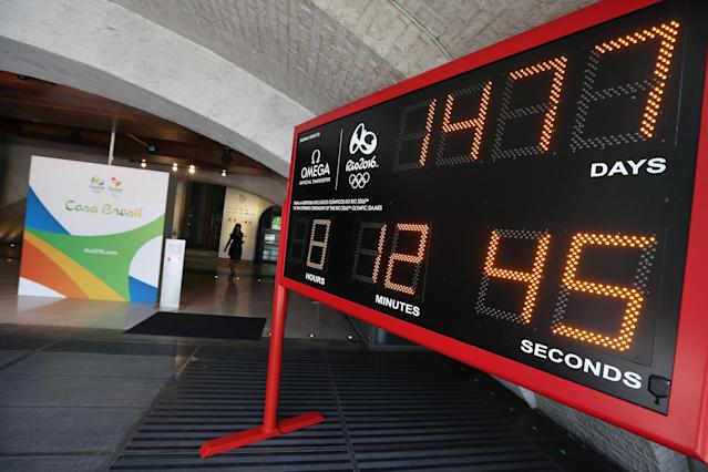 LONDON, ENGLAND - JULY 20: A countdown clock to the 2016 Olympic Games in the entrance lobby to 'Casa Brasil' (Brazil House) in Somerset House, which is being used throughout the Olympic and Paralympic Games on July 20, 2012 in London, England. The Brazilian-themed venue will be used to entertain athletes, visitors and special guests as well as promoting the next Olympic Games which will be held in Rio de Janeiro in 2016. (Photo by Oli Scarff/Getty Images)