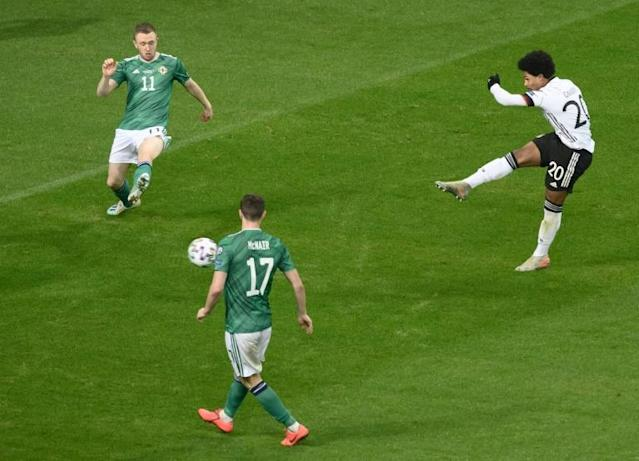Serge Gnabry scored three as Germany ran riot against Northern Ireland (AFP Photo/Silas Stein)