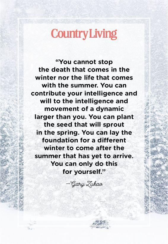"<p>""You cannot stop the death that comes in the winter nor the life that comes with the summer. You can contribute your intelligence and will to the intelligence and movement of a dynamic larger than you. You can plant the seed that will sprout in the spring. You can lay the foundation for a different winter to come after the summer that has yet to arrive. You can only do this for yourself.""</p>"