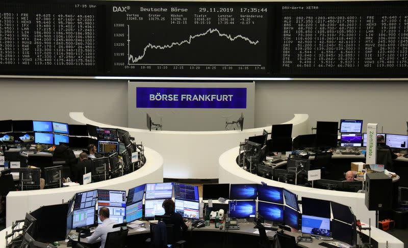 European shares slide after strong November; trade jitters nag