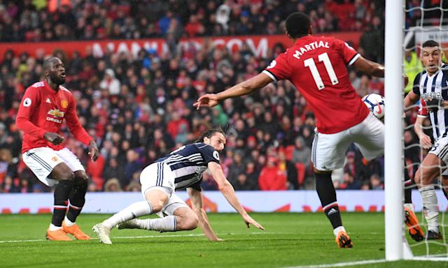 Jay Rodriguez heads in the winner for West Brom against Manchester United that confirmed Manchester City as Premier League champions.