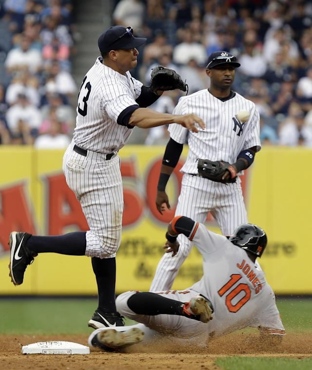 New York Yankees third baseman Alex Rodriguez, left, turns a double play at second base over Baltimore Orioles' Adam Jones, bottom, while Yankees' Eduardo Nunez looks on during the sixth inning of a baseball game at Yankee Stadium, Sunday, Sept. 1, 2013, in New York. (AP Photo/Seth Wenig)