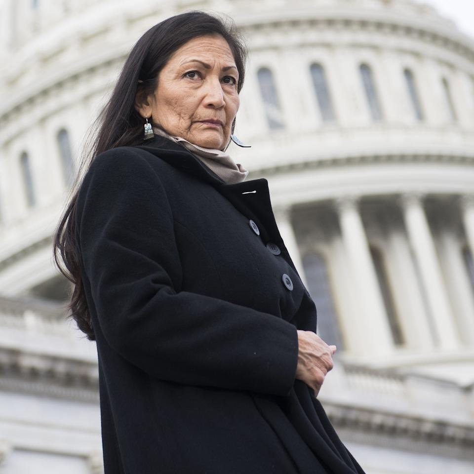 "Rep. Deb Haaland, D-N.M., on the Capitol steps in Washington, D.C. on Jan. 4, 2019.<span class=""copyright"">Tom Williams—CQ Roll Call/Getty Images</span>"