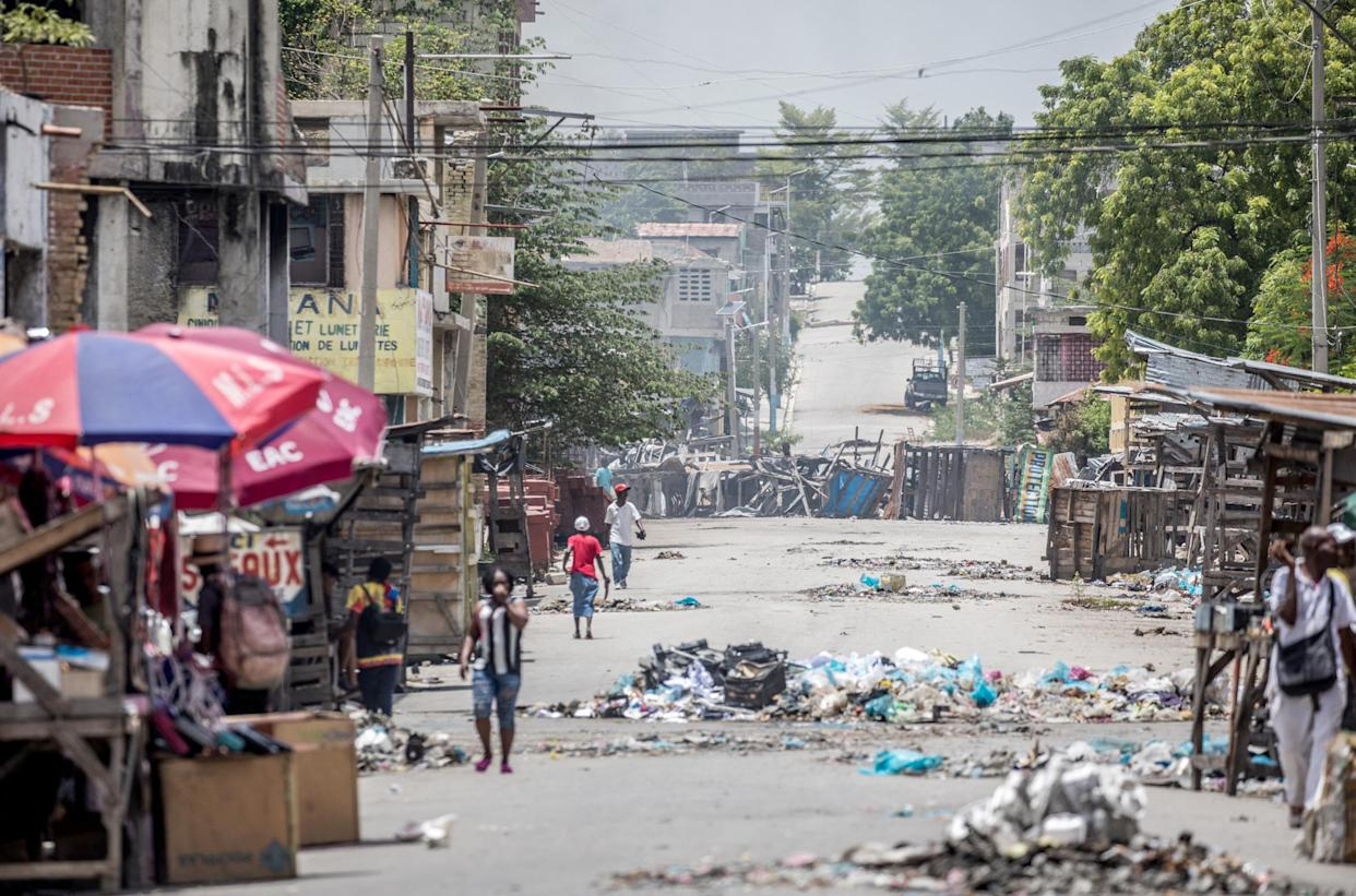 Garbage litters a street in the Bel-Air neighborhood of Port-au-PrinceJuly 13, 2021 in the wake of Haitian President Jovenel Moise's assassination early July 7. (Photo by VALERIE BAERISWYL/AFP via Getty Images)