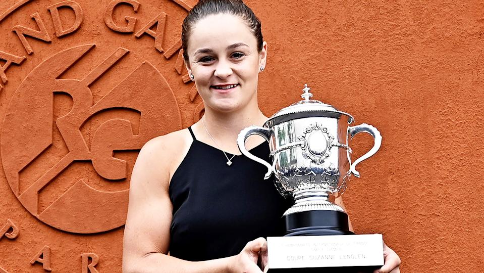 Ash Barty, pictured here with her French Open trophy in 2019.
