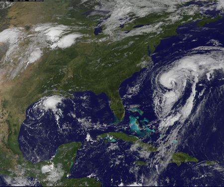 Hurricane Cristobal is seen moving up the east coast of the United States in an image taken from NOAA's Goes-East satellite