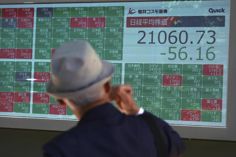 A man looks at an electronic stock board showing Japan's Nikkei 225 index at a securities firm in Tokyo Monday, June 17, 2019. Asian shares were mostly higher Monday amid a wait-and-see attitude about the direction of interest rates and the trade dispute between the U.S. and China. (AP Photo/Eugene Hoshiko)