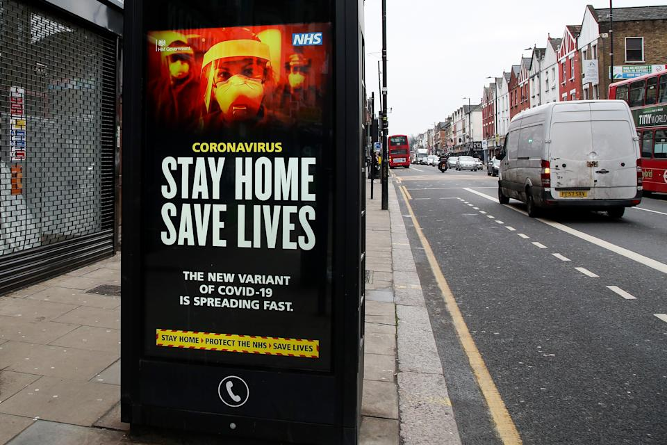 View of the Covid-19 'Stay Home Save Lives' publicity campaign poster in London as the third national lockdown continues. (Photo by Dinendra Haria / SOPA Images/Sipa USA)