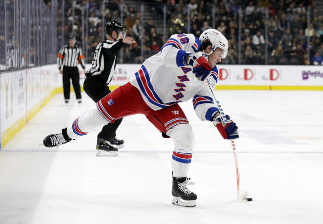 New York Rangers left wing Brendan Lemieux shoots during the first period of an NHL hockey game against the Vegas Golden Knights Sunday, Dec. 8, 2019, in Las Vegas. (AP Photo/Isaac Brekken)