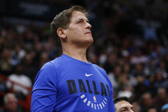 "<a class=""link rapid-noclick-resp"" href=""/nba/teams/dallas/"" data-ylk=""slk:Mavericks"">Mavericks</a> owner Mark Cuban was the first NBA owner to make a full commitment to his employees. (Michael Reaves/Getty Images)"