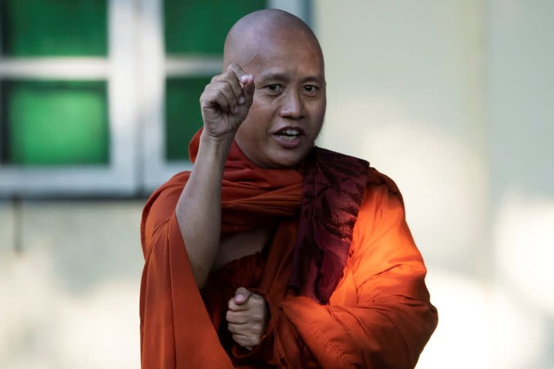 Fugitive Buddhist nationalist monk Wirathu is seen at a police station as he surrenders to the police in Yangon, Myanmar