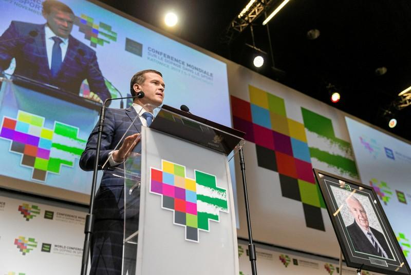 Polish Tourism and Sports Minister Banka delivers a speech during WADA World Conference on Doping in Sport in Katowice