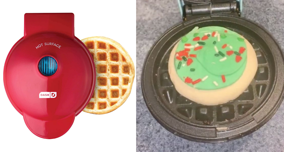 TikTok's latest must-try hack involves this mini waffle maker. Images via Amazon, TikTok/@michaellasmitth.