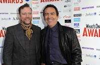 LONDON, ENGLAND - DECEMBER 06: Rufus Hound and Robert Lindsay attend the nominations launch party for the WhatsOnStage awards at Cafe de Paris on December 6, 2013 in London, England. (Photo by Ferdaus Shamim/WireImage)