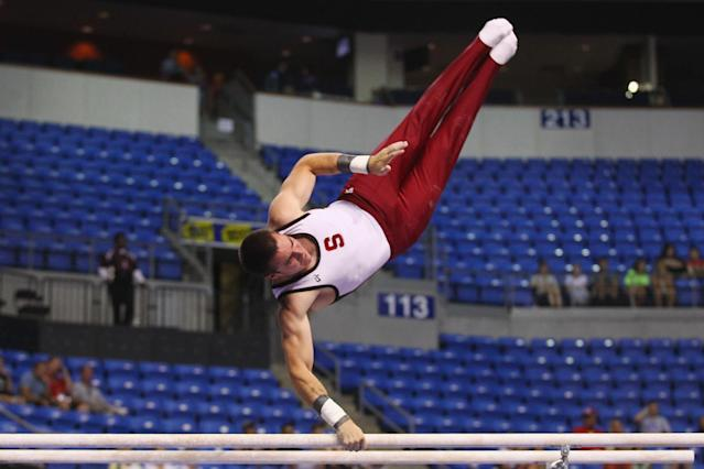 ST. LOUIS, MO - JUNE 7: Sean Senters competes in the parallel bars exercise during the Senior Men's competition on day one of the Visa Championships at Chaifetz Arena on June 7, 2012 in St. Louis, Missouri. (Photo by Dilip Vishwanat/Getty Images)