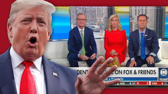 "President Trump calls in to ""Fox & Friends"" on Friday. (Photo illustration: Yahoo News; photos: AP, via Fox & Friends)"