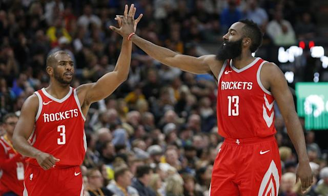 "<span class=""element-image__caption""><a class=""link rapid-noclick-resp"" href=""/nba/players/3930/"" data-ylk=""slk:Chris Paul"">Chris Paul</a> and James Harden are a formidable duo for the Rockets. <br></span> <span class=""element-image__credit"">Photograph: Rick Bowmer/AP</span>"