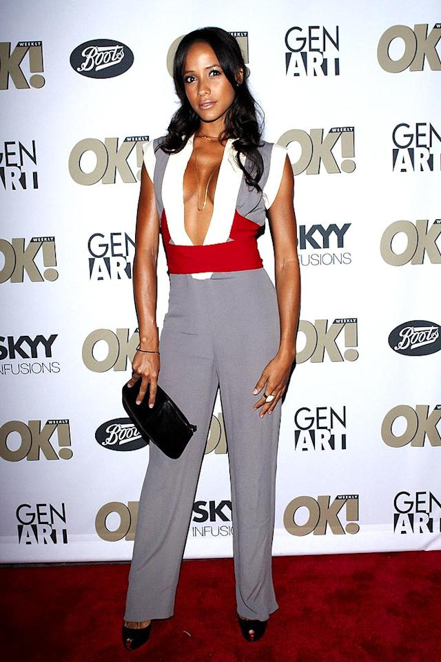 """""""Heroes"""" hottie Dania Ramirez made a daring choice when she donned this low-cut jumpsuit to an event honoring British designer Georgina Chapman of Marchesa. Lorenzo Santini/<a href=""""http://www.wireimage.com"""" target=""""new"""">WireImage.com</a> - September 10, 2008"""