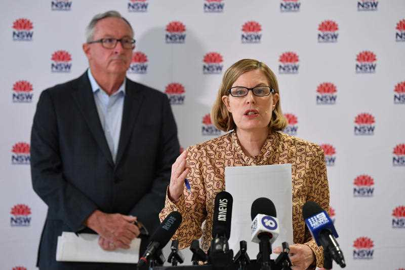 NSW Minister for Health Brad Hazzard (left) and NSW Chief Health Officer Dr Kerry Chant provide a Covid-19 update in Sydney.