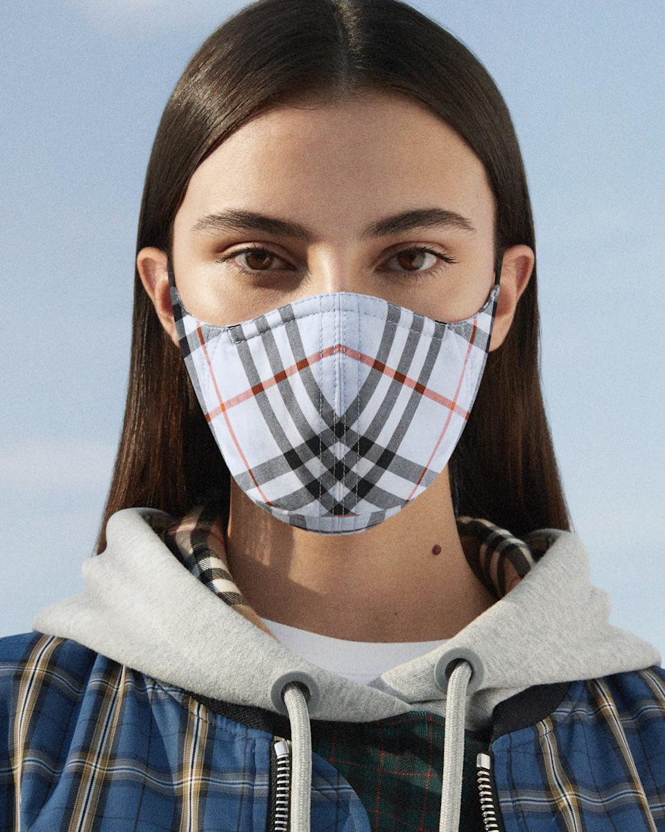 Burberry launches £90 non-medical face masks, which are only available to buy online. (Burberry)