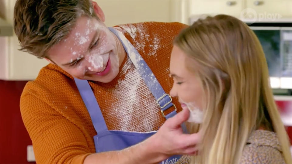 Chelsie McLeod pictured on a cooking date with Matt Agnew on the bachelor australia 2019.