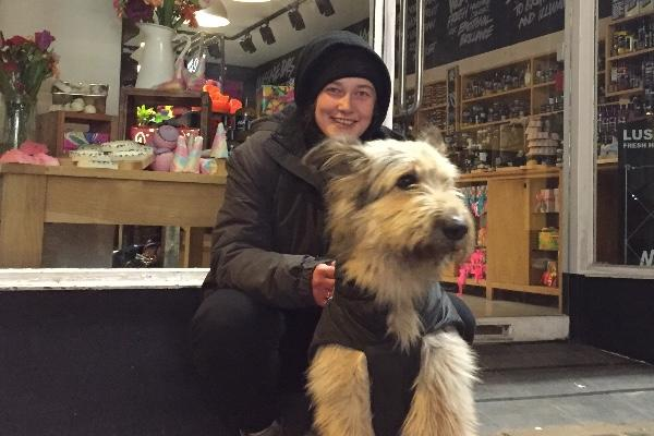 Lottie and her dog Marley outside Lush.