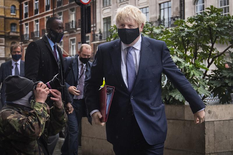 Prime Minister Boris Johnson arrives at BBC Broadcasting House in London to appear on the Andrew Marr show.