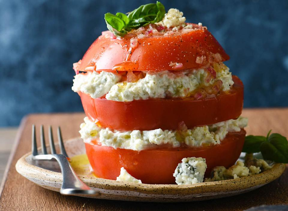 tomato and blue cheese stack