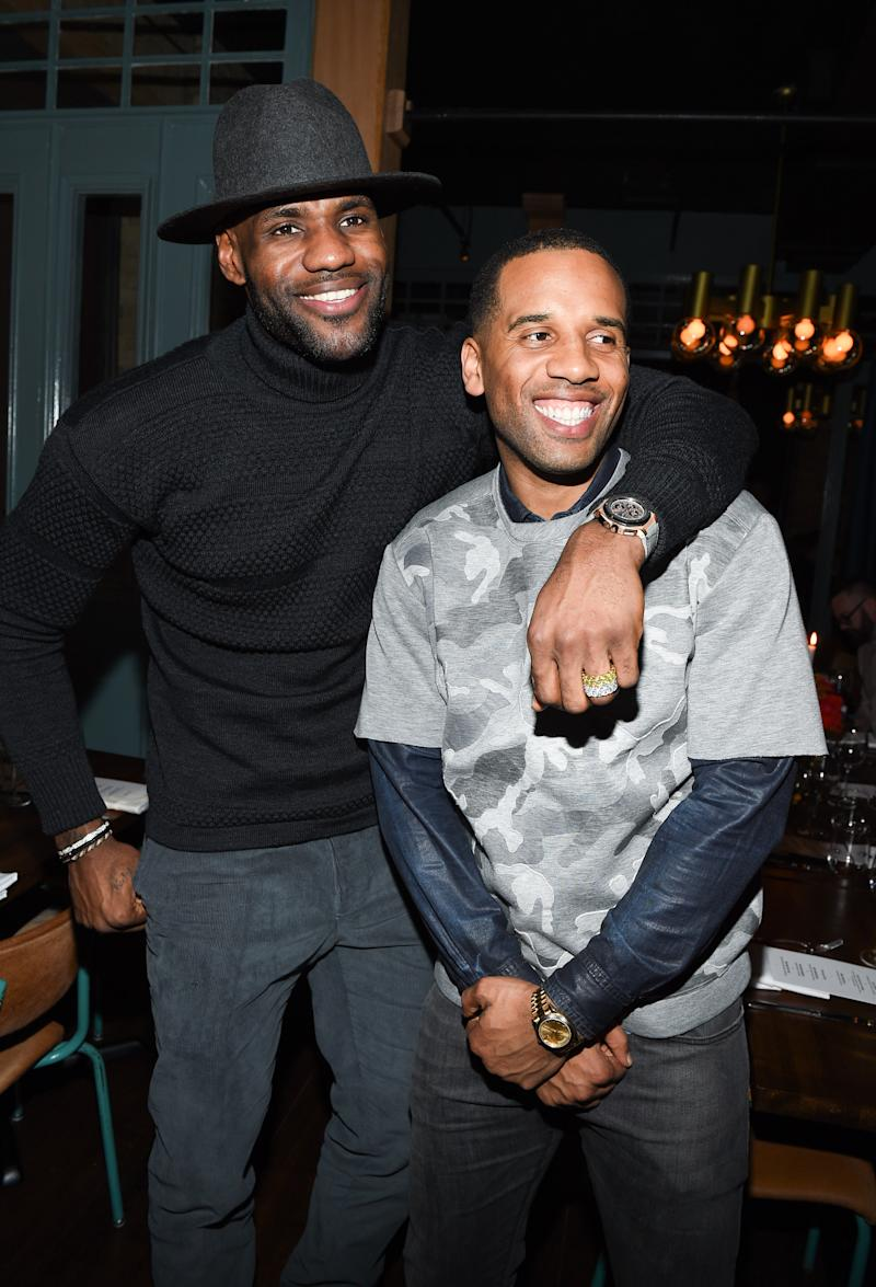 TORONTO, ON - FEBRUARY 11: LeBron James and Maverick Carter attend the Beats In The Six And Drake Welcome Dinner at Fring's on February 11, 2016 in Toronto, Canada. (Photo by George Pimentel/WireImage)