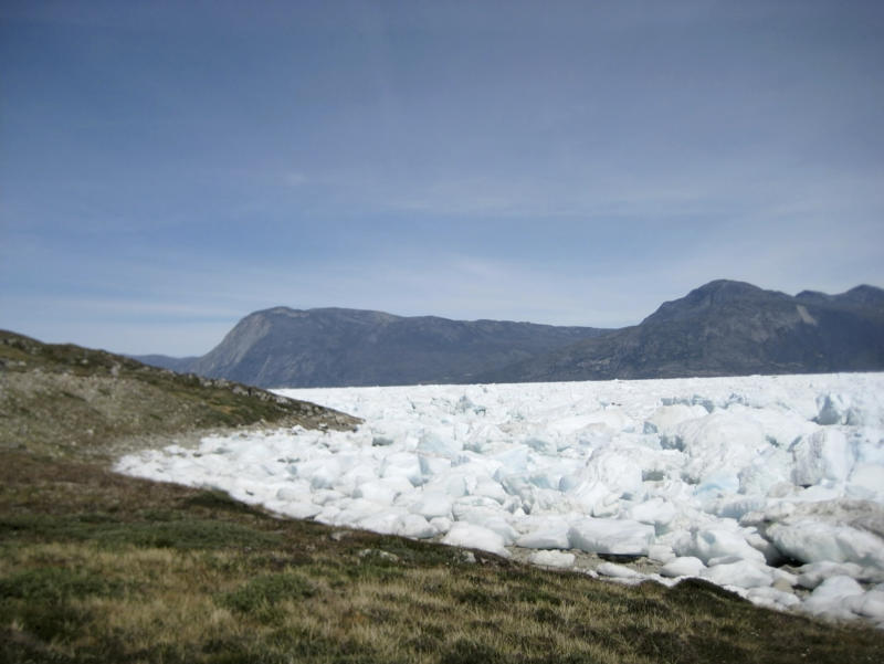 An image taken on June 18, 2019 of the Kangersuneq glacial ice fields in Kapissisillit, Greenland. Milder weather than normal since the start of summer, led to the UN's weather agency voicing concern that the hot air which produced the recent extreme heat wave in Europe could be headed toward Greenland where it could contribute to increased melting of ice. | Keith Virgo—AP