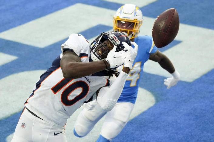 Denver Broncos wide receiver Jerry Jeudy (10) misses a pass in the end zone during the second half of an NFL football game against the Los Angeles Chargers Sunday, Dec. 27, 2020, in Inglewood, Calif. (AP Photo/Ashley Landis)