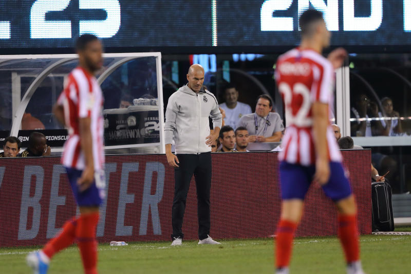 EAST RUTHERFORD, NJ - JULY 26: Zinedine Zidane the head coach / manager of Real Madrid during the 2019 International Champions Cup match between Real Madrid and Atletico de Madrid at MetLife Stadium on July 26, 2019 in East Rutherford, New Jersey. (Photo by Matthew Ashton - AMA/Getty Images)
