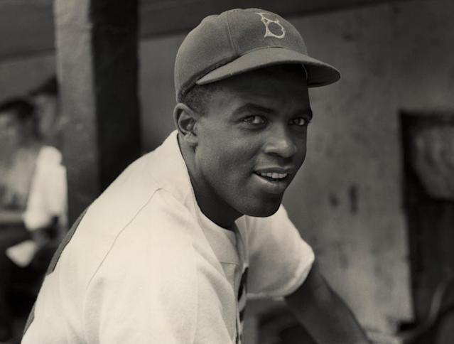 """<span class=""""element-image__caption"""">Circa 1945: a portrait of the Brooklyn Dodgers' infielder Jackie Robinson in uniform.</span> <span class=""""element-image__credit"""">Photograph: Hulton Archive/Getty Images</span>"""