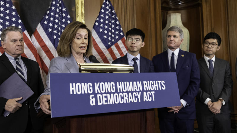 "US House Speaker Nancy Pelosi says Congress looks forward to advancing the legislation on Hong Kong Human Rights and Democracy Act, during a press conference with Joshua Wong, secretary-general of Hong Kong's pro-democracy Demosisto party and leader of the ""Umbrella Movement,"" and members of the Congress in Washington D.C. September 18, 2019. (Photo by Aurora Samperio/NurPhoto via Getty Images)"