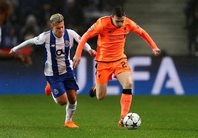 Soccer Football - Champions League Round of 16 First Leg - FC Porto vs Liverpool - Estadio do Dragao, Porto, Portugal - February 14, 2018 Liverpool's Andrew Robertson in action with Porto's Otavio Action Images via Reuters/Matthew Childs