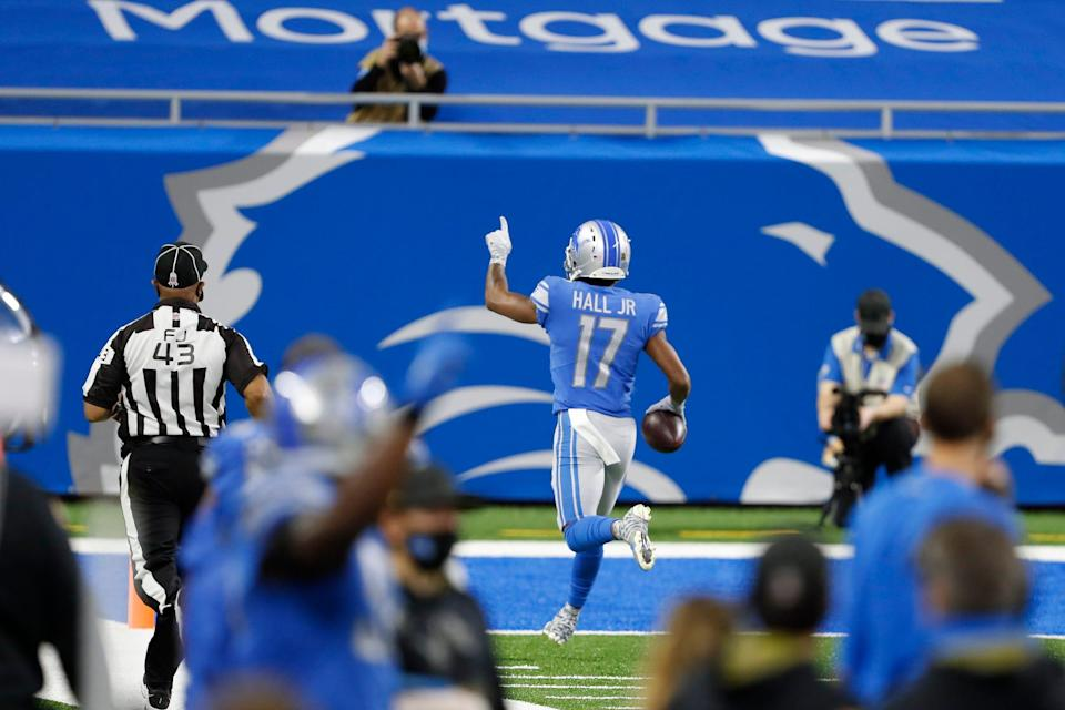 Lions wide receiver Marvin Hall runs after a catch for a touchdown against the Washington Football Team during the first half on Sunday, Nov. 15, 2020, at Ford Field.