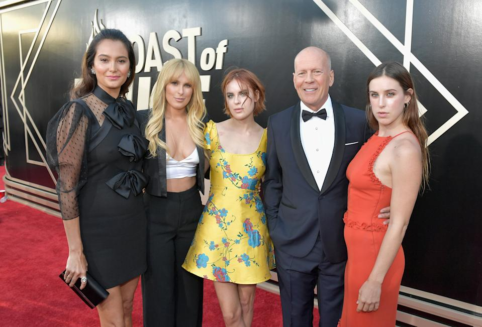 Emma Heming, Rumer Willis, Tallulah Willis, Bruce Willis and Scout Willis attend the Comedy Central Roast of Bruce Willis at Hollywood Palladium on July 14, 2018 in Los Angeles, California.  (Photo by Neilson Barnard/Getty Images For Comedy Central)