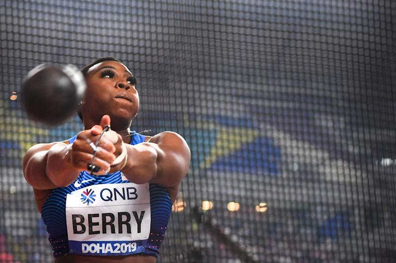 USA's Gwen Berry competes in the Women's Hammer Throw final at the 2019 IAAF World Athletics Championships at the Khalifa International stadium in Doha on September 28, 2019. (Photo by ANDREJ ISAKOVIC / AFP) (Photo credit should read ANDREJ ISAKOVIC/AFP via Getty Images)