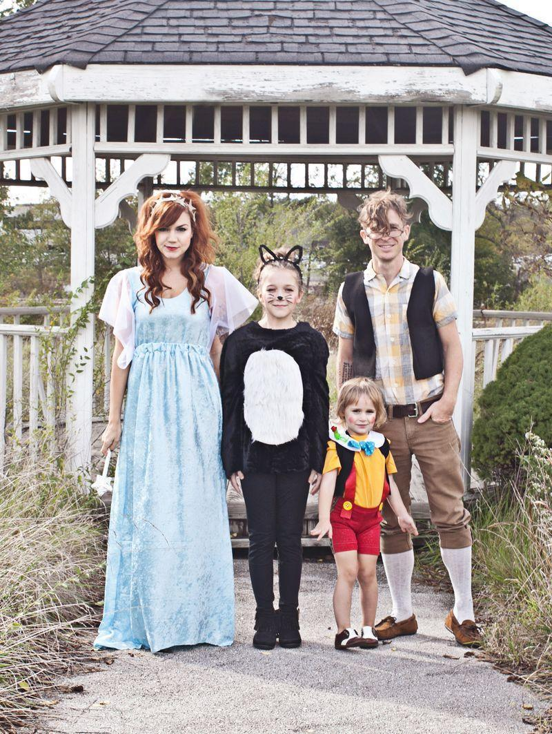 """<p>Though this group costume looks complicated, it's actually very easy to put together. Everyone in your family will look like they came straight out of a storybook.</p><p><strong>Get the tutorial at <a href=""""https://abeautifulmess.com/2014/10/pinocchio-themed-family-costume.html"""" rel=""""nofollow noopener"""" target=""""_blank"""" data-ylk=""""slk:A Beautiful Mess"""" class=""""link rapid-noclick-resp"""">A Beautiful Mess</a>.</strong> </p>"""