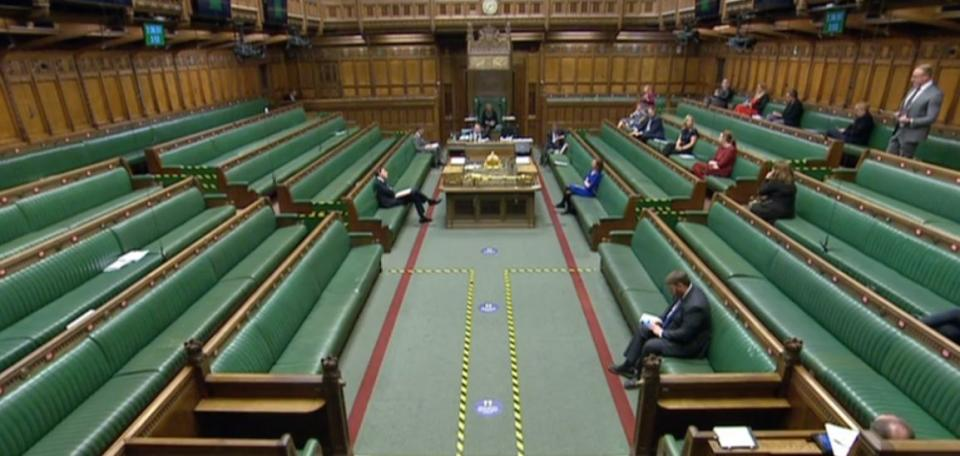 Empty Tory benches during the debate (Photo: HuffPost UK)