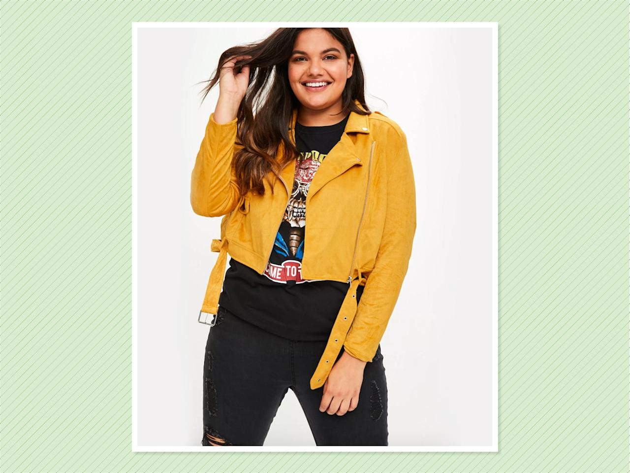 "<p>Plus-Size Yellow Suedette Biker Jacket, $76, <a rel=""nofollow"" href=""https://www.missguidedus.com/plus-size-yellow-suedette-biker-jacket-10060223"">Missguided</a> (Photo: Missguided) </p>"