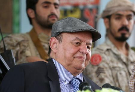 FILE PHOTO - Yemen's President Abd-Rabbu Mansour Hadi attends a meeting with local officials during a visit to the coutry's northern province of Marib