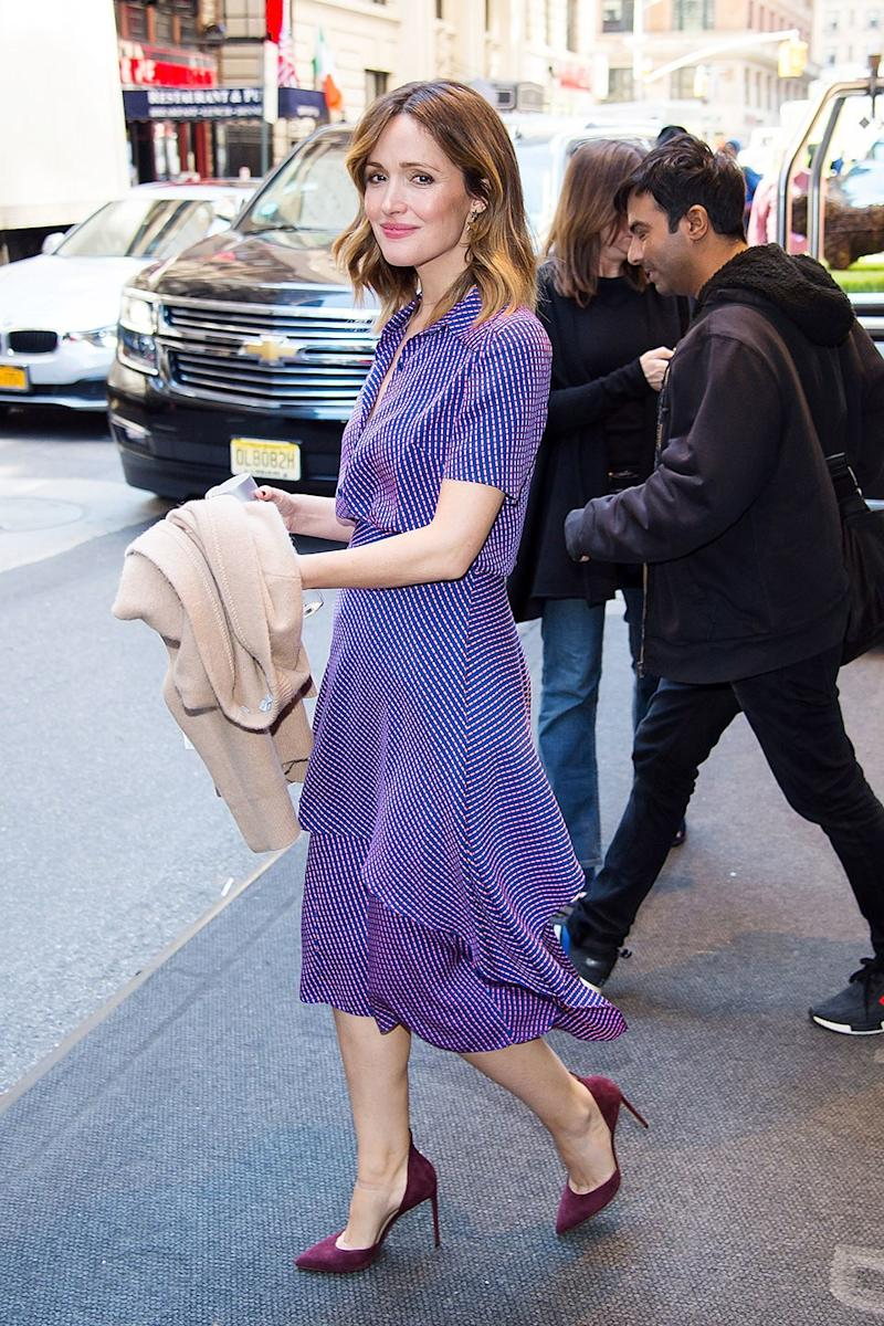 On Wednesday, Byrne looked like spring itself in a flowing purple dress and plum-colored heels.